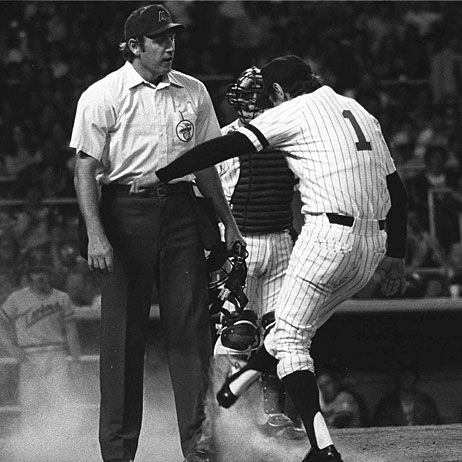 Yankees manager Billy Martin kicks dirt on rookie home plate umpire Dallas Parks in the eighth inning of Aug. 16, 1979 game lost to the Minnesota Twins at Yankee Stadium.