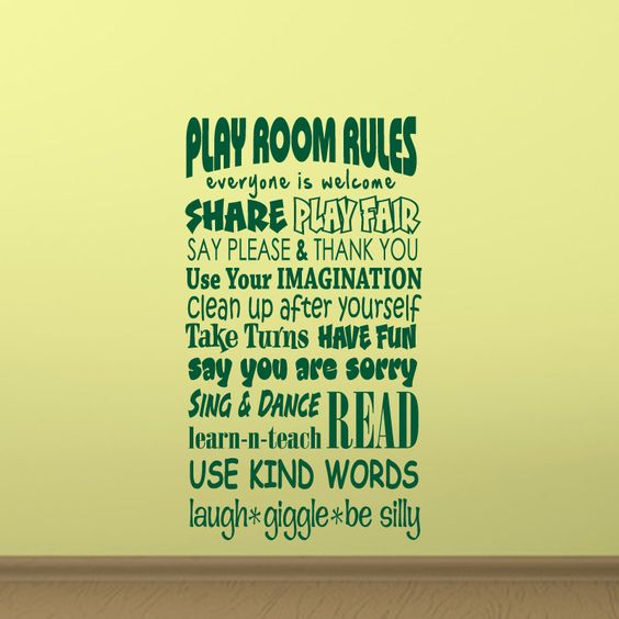 Bedroom Decor Rules play room rules wall decal vinyl playroom wall quote living