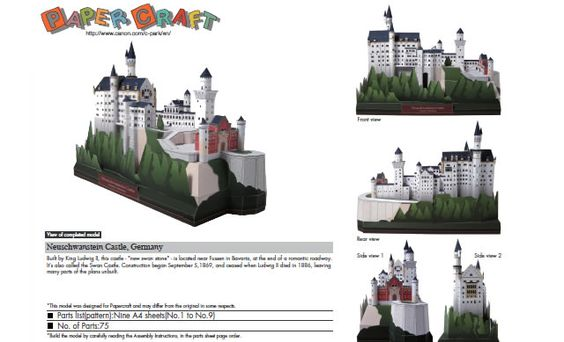 Neuschwanstein Castle, Germany. free templates and downloads. http://speckyboy.com/2011/04/08/40-amazing-papercraft-templates-for-the-geek-inside-you/