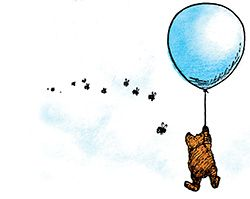 I've never seen this image with the bees and cloud.. just pooh and the balloon!:
