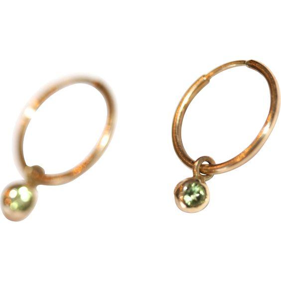 Vintage 14 Carat Yellow Gold Hoop Earrings And Detachable Peridot From Elizabethroseantiques On Ruby Lane