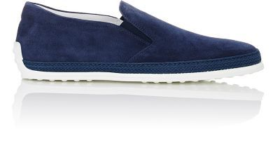 TOD'S Raffia-Trimmed Suede Slip-On Sneakers. #tods #shoes #sneakers