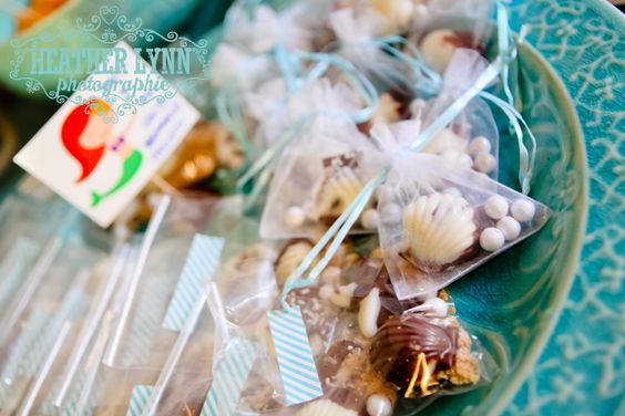 #mermaidparty Seashell chocolates with sixlets and brown sugar!!