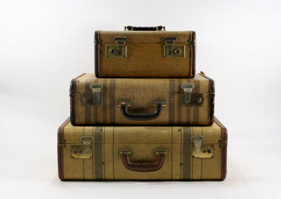 Vintage Suitcase / Stack of Suitcases / Vintage Luggage / Striped ...