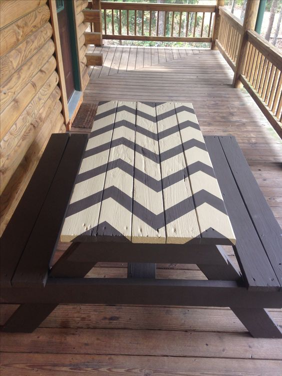 Chevron Picnic Table I Think Yes In Yellow And Grey