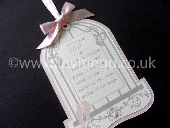 Table plan hanging tags. Birdcage design. ©www.invitingu.co.uk