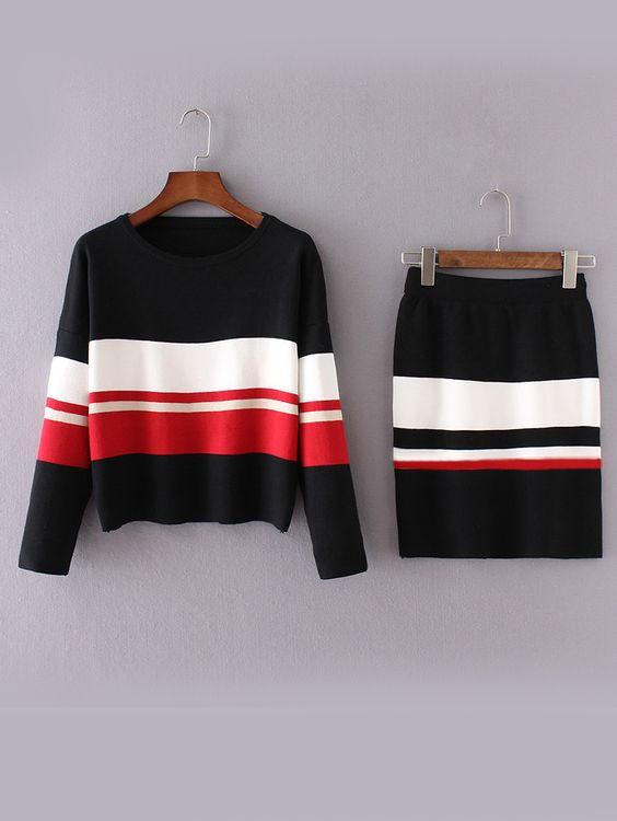 Shop Black Color Block Drop Shoulder Sweater With Skirt online. SheIn offers Black Color Block Drop Shoulder Sweater With Skirt & more to fit your fashionable needs.