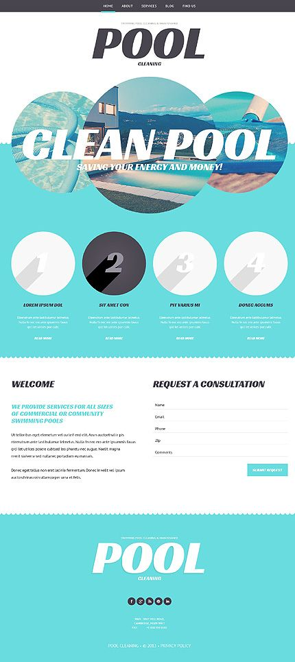 Template 47997 pool company responsive wordpress theme for Pool design templates