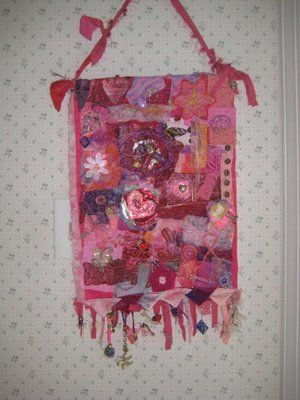 Prize donation for Pink Artist Project to raise money for breast cancer, 2008, by Jeanne Turner McBrayer.  Fabric, paper, fibers, beads, ribbons, other embellishments.
