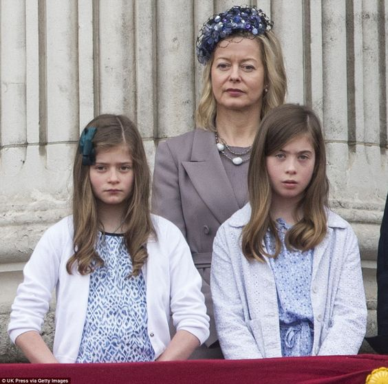 Lady Helen Taylor with Eloise Taylor, seven, (left) and Estella Taylor, ten, (right) durin...