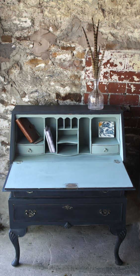 Vintage Painted Bureau - Sold www.sallywhitedesigns.com