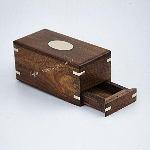 Wooden Handcrafted Secret Enigma Box Brainteaser Puzzle Secret Container