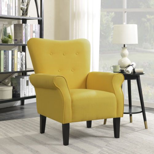 Arm Chair Accent Single Sofa Linen Fabric Upholstered Living Room Citrine Yellow 696453519017 Ebay Accent Chairs For Living Room Living Room Chairs Living Room Chairs Modern
