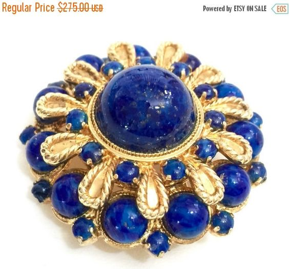 Christian Dior Faux Lapis Brooch Germany 1968 3 Sizes Glass Cabs