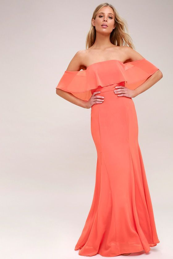 18++ Coral off the shoulder dress ideas in 2021