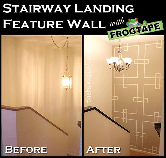 Painted stairwell landing feature wall pinterest the o - How to paint a stairway wall ...