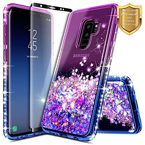 Galaxy S9 Plus Case W Full Coverage Screen Protector Hd Nagebee Glitter Liquid Quicksand Float Blue Phone Case Liquid Glitter Phone Case Glitter Phone Cases