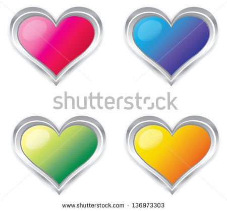 Colorful 3d Heart sign symbol button icon collection set, create by vector