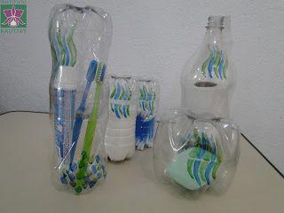 Lindo kit para banheiro feito com garrafa pet- Porta Papel higiênico,  Saboneteira,  Porta escova de dentes e creme dental, Porta cotonetes e porta algodão.