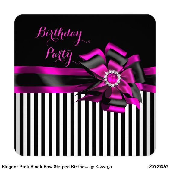 Elegant Pink Black Bow Striped Birthday Party 5.25x5.25 Square Paper Invitation Card