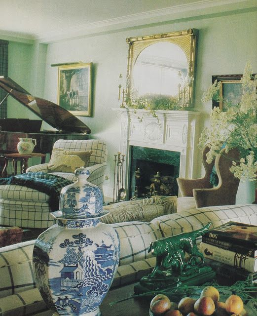 dog art, books and pastoral art in living room