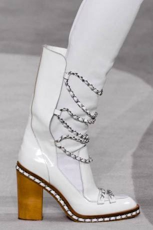 Rita Ora: Fall 2013 Chanel White Chain Link Thigh High Boots, purchase at theCIRCEeffect.com. Will ship worldwide.