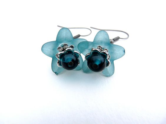 Teal Blue Flower and Glass Earrings - Teal Earrings, Blue Earrings, Teal Flower, Lucite, Antique Silver, Dangle, Lucite Flowers, Valentine. $12.00, via Etsy.
