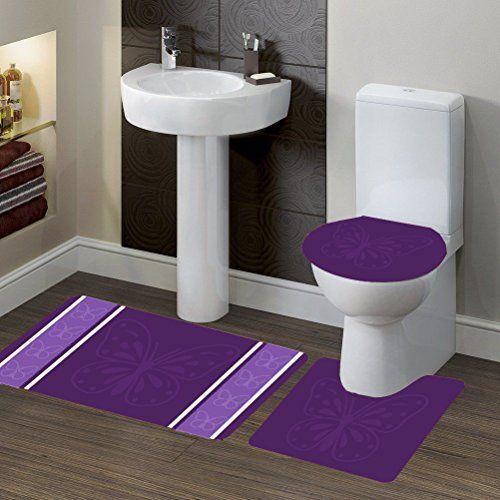 NEW 3PC BATHROOM SET 1 BATH RUG 1 CONTOUR MAT 1 TOILET LID COVER #6 GOLD