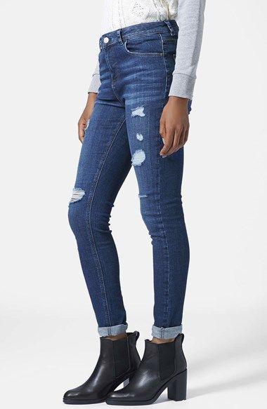 Topshop Moto Ripped Skinny Jeans (Dark Denim) (Regular &amp Short
