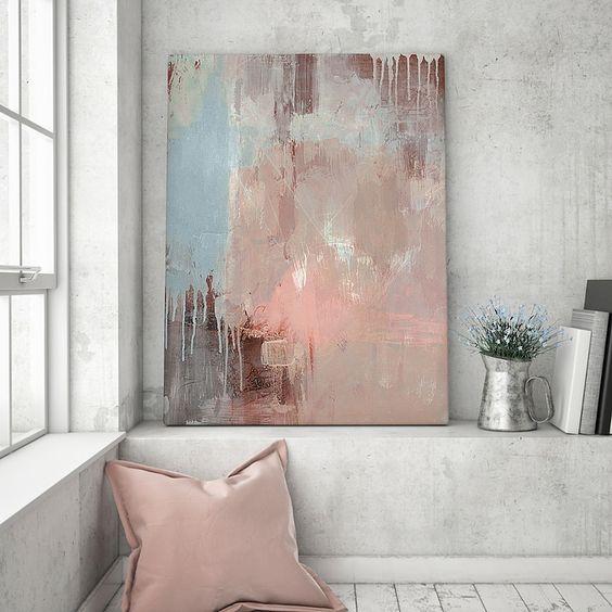 Leinwand selber malen gestalten cozy wohnzimmer