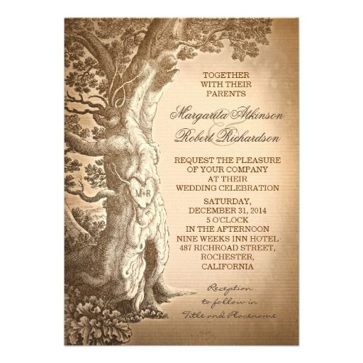 vintage tree old rustic wedding invitations rustic vintage With tree trunk wedding invitations
