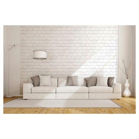 Textured Brick Peel Stick Wallpaper White Threshold Remodel Bedroom Small Bedroom Remodel Master Bedroom Remodel
