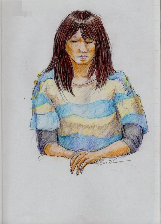 A woman I saw on the train going to work. Shirt women horizontal stripes. 『ボーダー柄のシャツのお姉さん(通勤電車でスケッチ)』