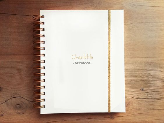 PERSONALIZED SKETCHBOOK/NOTEBOOK - PUT YOUR NAME ON IT! Each sketchbook is made to order. You can also add a logo or monogram. Before order a planner