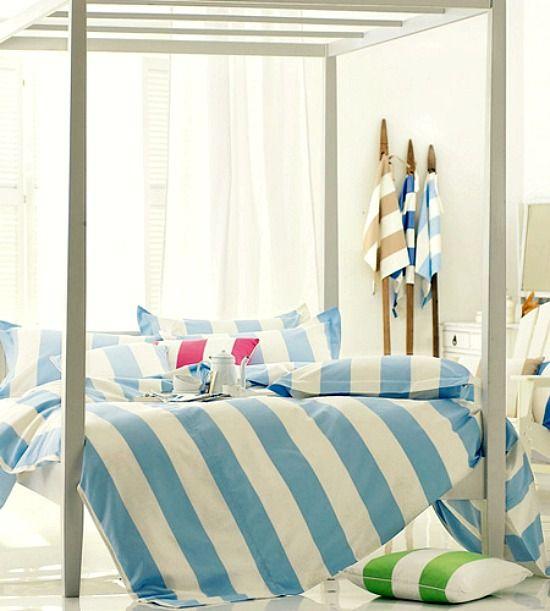 Cabana Stripe Bedding Linens and Duvets: http://beachblissliving.com/blue-cabana-stripe-beach-decor/