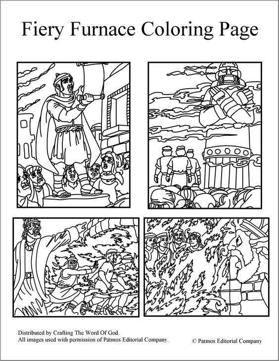 Fiery furnace coloring pages day 3 journey off the map for Daniel and the fiery furnace coloring page