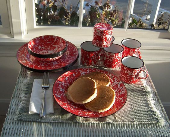 Graniteware Place Settings Red Spatter Ware Enamelware 18 Pieces Plates Bowls Mugs Holiday Decor Farmhouse Country Kitchen