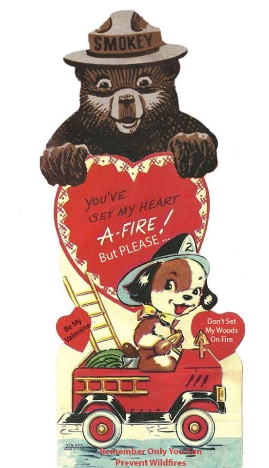 Retro Smokey Bear Valentine Retro Valentines Vintage Valentine Cards Bear Valentines