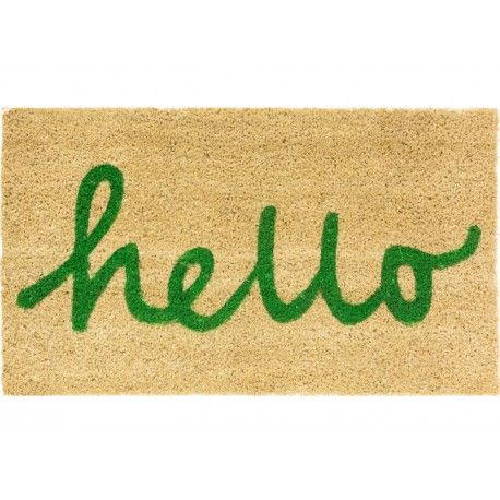 Felpudo casa Hello letras verde