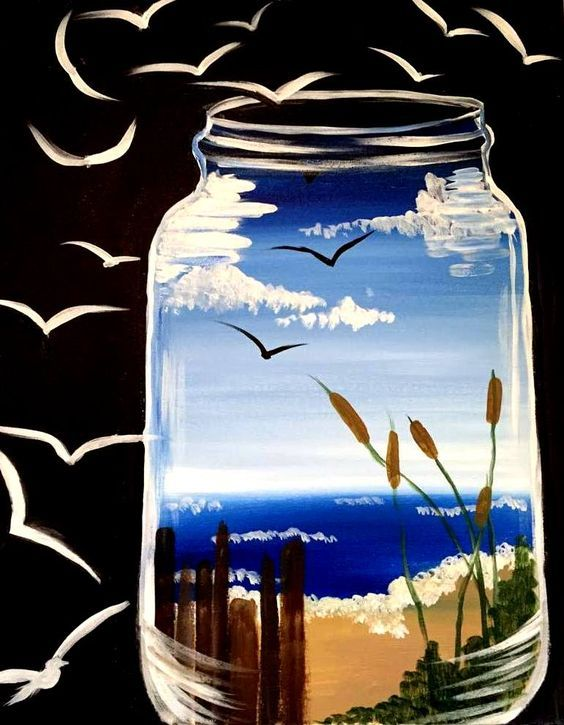 Paint Night Ocean In A Jar At Yoga Art Space Albuquerque Canvas Painting Diy Art Art Painting