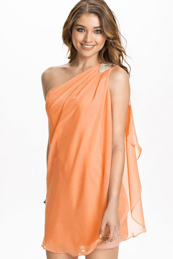 LUCLUC Orange Pleated One-Shoulder Chiffon Dress