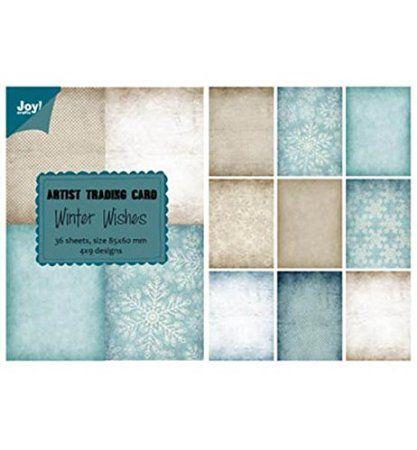 """Joy!Crafts Artist Trading Card 6011/0408 """"Winter Wishes"""", Dekopapier-Set, Inhalt 36 Blatt im Block, 9 verschiedene Designs"""