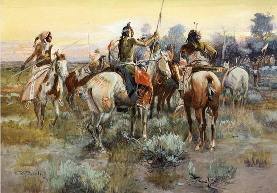 """""""The Truce"""" by Charles Marion Russell.  Click on image to ENLARGE."""