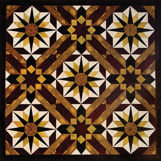 This reproduction of a painting by Rosemary Schmucker features a traditional barn quilt pattern. The image is laminated to high quality MDF board, the edges bevels and finished with a black coating. T