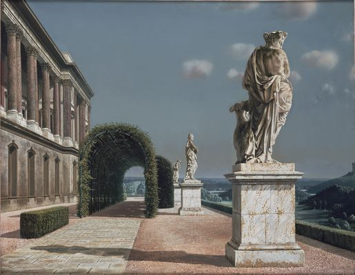 """Terras met pergola (Terrace with Pergola)"", 1951 / Carel Willink (1900-1983) / Collection Erven mr. G.J. van Hall, Amsterdam, The Netherlands"