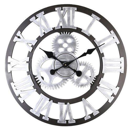 Horloge Murale Rustique Fait /à la Main Grande D/écoration Vintage en Bois pour Salon 30cm Horloge Murale Vintage 3D