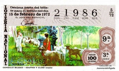 Décimo Del Sorteo Especial De Lotería De San Valentin Celebrado El 15 De Febrero De 1972 Coleccionismo Loteria Lotería Nacional Lotería Sorteo Especial