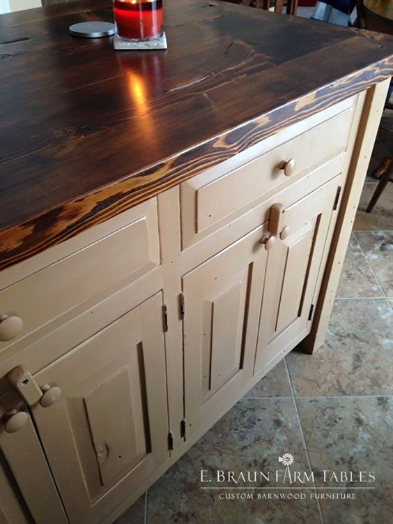 Wood kitchen island amish and furniture on pinterest for Amish kitchen cabinets lancaster pa