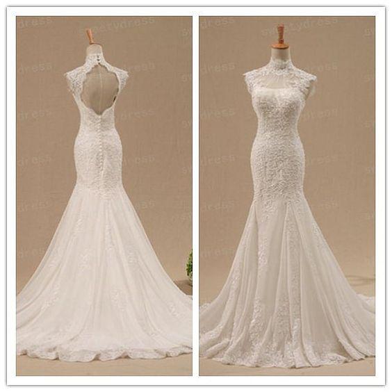 Custom lace wedding dress open back bridal gown high for Cap sleeve open back wedding dress