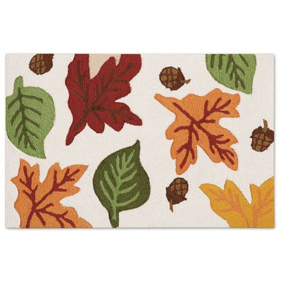 product image for Nourison Fall Leaf Hook 20-Inch x 30-Inch Kitchen Rug in Sand